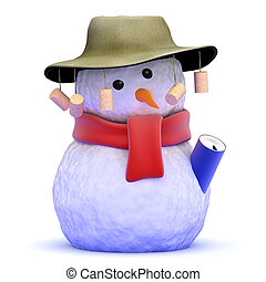 3d Australian snowman - 3d render of a snowman wearing an...