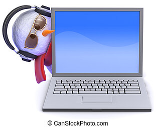 3d Snowman in headphones with laptop - 3d render of a...