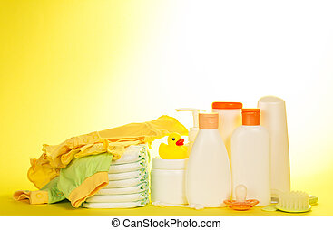 Set of baby care products - Baby clothes, diapers and...