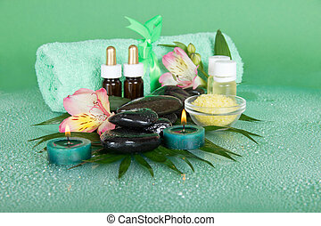Spa set and towel - Set for an aromatherapy, candles and a...