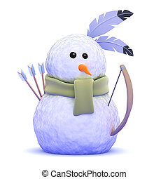 3d Native American Indian snowman with bow and arrow - 3d...