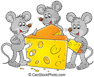 mice and cheese - Grey house mice eating cheese