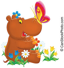 Hippopotamus and butterfly - Little brown hippo playing with...