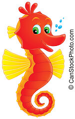 Sea horse - Red and yellow Seahorse smiling, on a white...