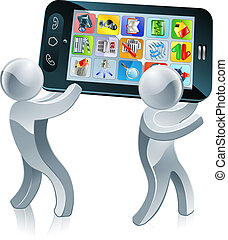 Mobile phone silver people