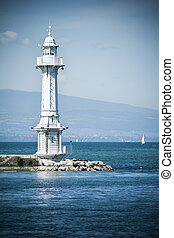 Lighthouse on Lake Geneva - The small lighthouse on the...