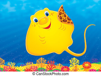 Ray - Funny Ray swimming over a colorful coral reef