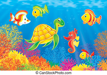 Coral fishes, turtle and seahorse - Tropical fishes, sea...