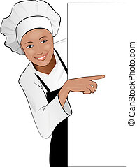 lady cook - Beautiful Cook Girl Pointing on Blank Banner,...