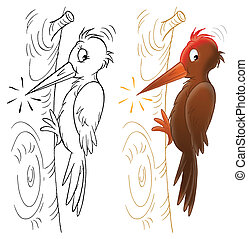 Woodpecker - Isolated clip-art of a woodpecker sitting on a...