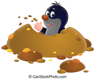 Mole - Isolated clip-art of a mole looking out of his burrow
