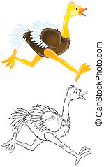 Ostrich - Isolated clip-art of a running ostrich