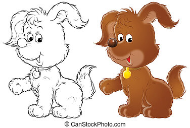 Pup - Isolated clip-art of a brown pup