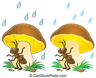 Ant - Isolated clip-art of an ant sitting under a mushroom...