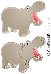 Hippopotamus - Isolated clip-art of a grey hippopotamus with...