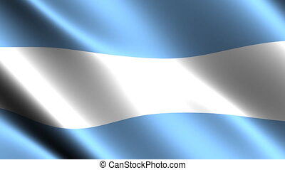 Argentine flag waving in the wind. Looping animation