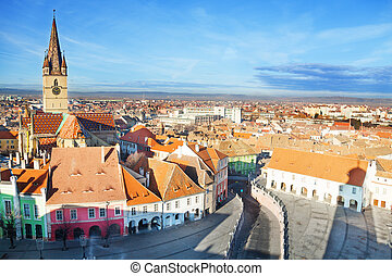 Piata Mare Large square in Sibiu, Romania after Christmas...