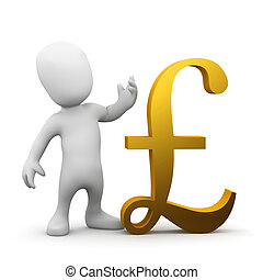 3d Man with UK Pound Sterling symbol - 3d render of a little...