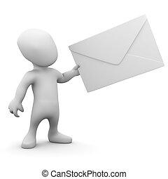 3d Man with an envelope - 3d render of a little man holding...