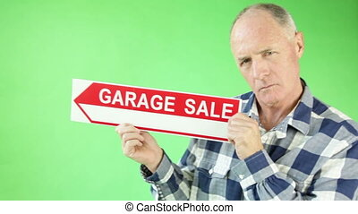 Senior casual caucasian man isolated green screen confident with garage sale