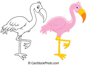 Pink flamingo, color illustration and black-and-white...