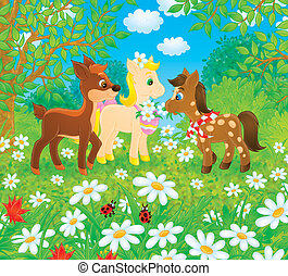 Little Ponies and Fawn - Little ponies and fawn play in a...