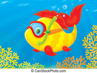 Fish Diver - Funny tropical fish swimming with mask and...