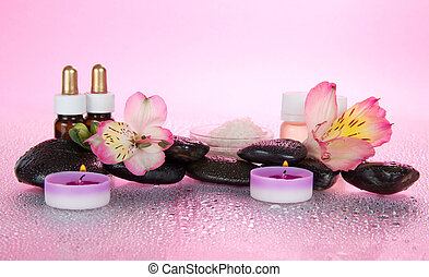 Aromatic oil, salt, candles, stones, flower - Aromatic oil,...