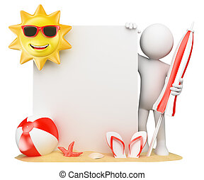3D white people. Summer background with blank paper - 3d...
