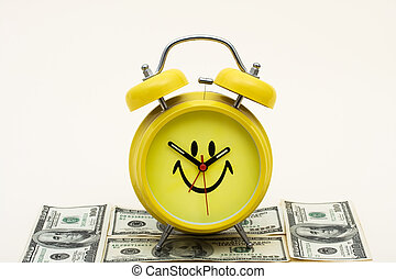 Saving for the Future - A smiley face clock cap with hundred...