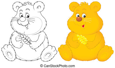 Hamster - Funny fat hamster with fat cheeks, color...