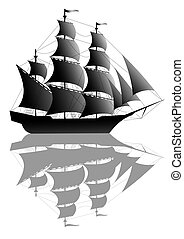 Black sailing ship - Black old ship isolated on white