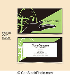 vector business card set with hand