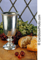 Communion Bread and Wine - Communion bread and wine with...