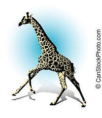 Giraffe - A galloping giraffe under a blue sky.
