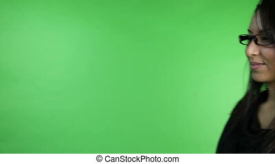 business woman isolated on green screen call me gesture