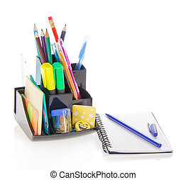 Office supply in support and sketchpad - Office supply in a...