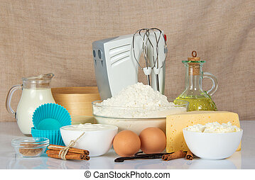 Set of products for baking and mixer - Set of products for...