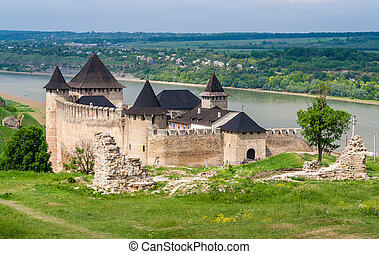 Khotyn, hofburg, Dniester, flussufer, Ukraine