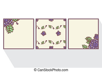 Set of cards with  abstract roses.