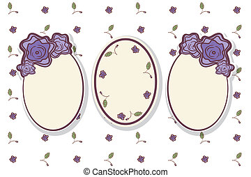 Set of retro frames with abstract roses.