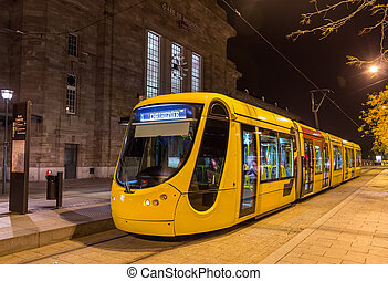 Modern tram on central station of Mulhouse - France