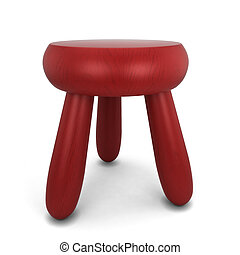 Wooden stool. 3d illustration isolated on white background