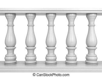 White balustrade. 3d illustration isolated on white...