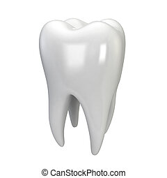 White tooth 3d illustration isolated on white background