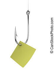 Fishing hook with note