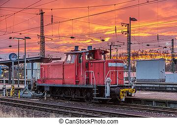 Un, guardagujas, Karlsruhe, estación, -, alemania