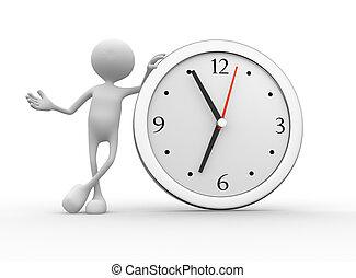 Big clock - 3d people - men, person with a big clock