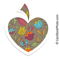 Valentines day card with heart Vector illustration