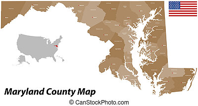 Maine County Map - A large and detailed map of the State of...